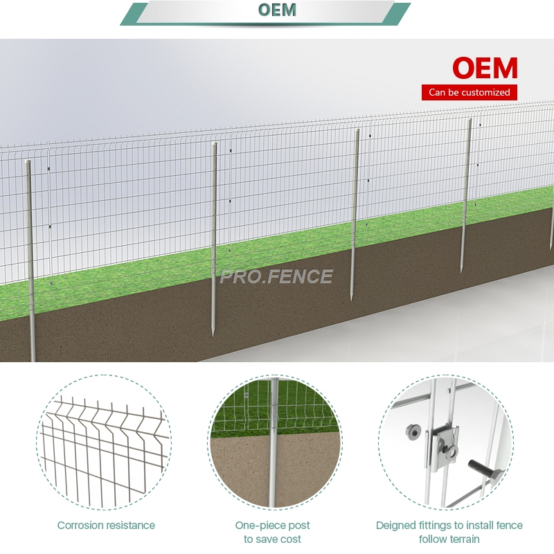 M-shaped welded mesh fence(one-piece post)