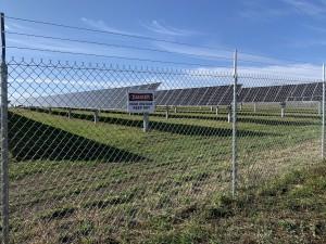 Chain link fence for solar farm